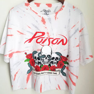 POISON Nothing But A Good Time Crop T-Shirt NWOT L